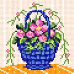 O·1230: Рожеві квіти в синьому кошику