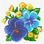 O·1237: Дві великі фіалки і жовті квітки