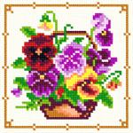 O·1240: Різнобарві фіалки в кошику