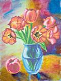 A559 Натюрморт «Тюльпани і персик»