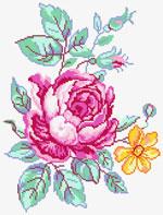 N3006 Троянда і жовта квітка